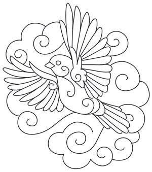 Whirls and swirls define a bird, dancing on the breeze. Downloads as a PDF. Use pattern transfer paper to trace design for hand-stitching.