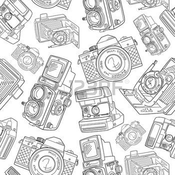 appareil photo vintage: Main étiré sans soudure modèle vieil appareil photo, en noir et blanc