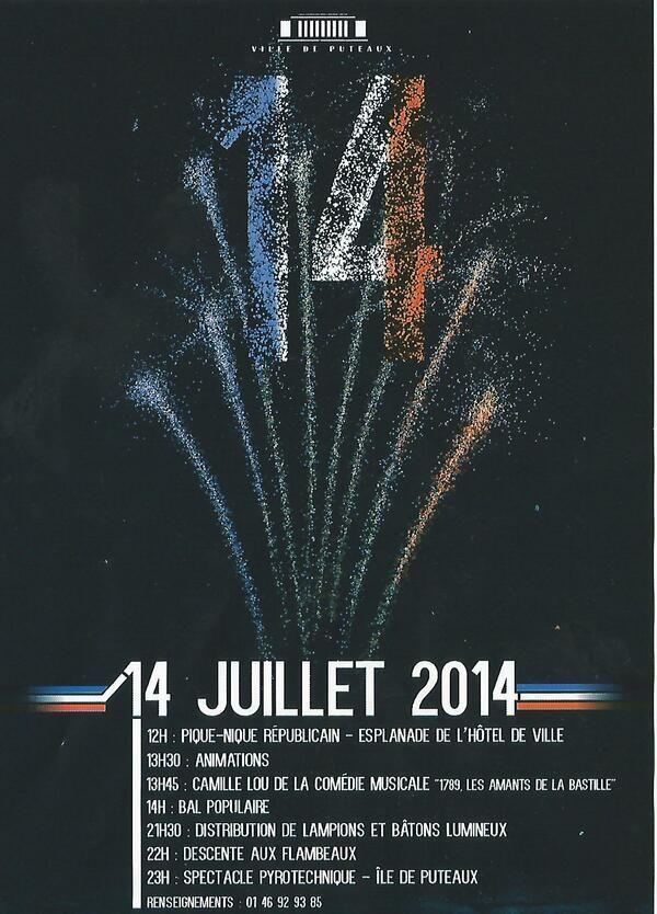 Pique-Nique et spectacle pyrotechnique. Le lundi 14 juillet 2014 à Puteaux.