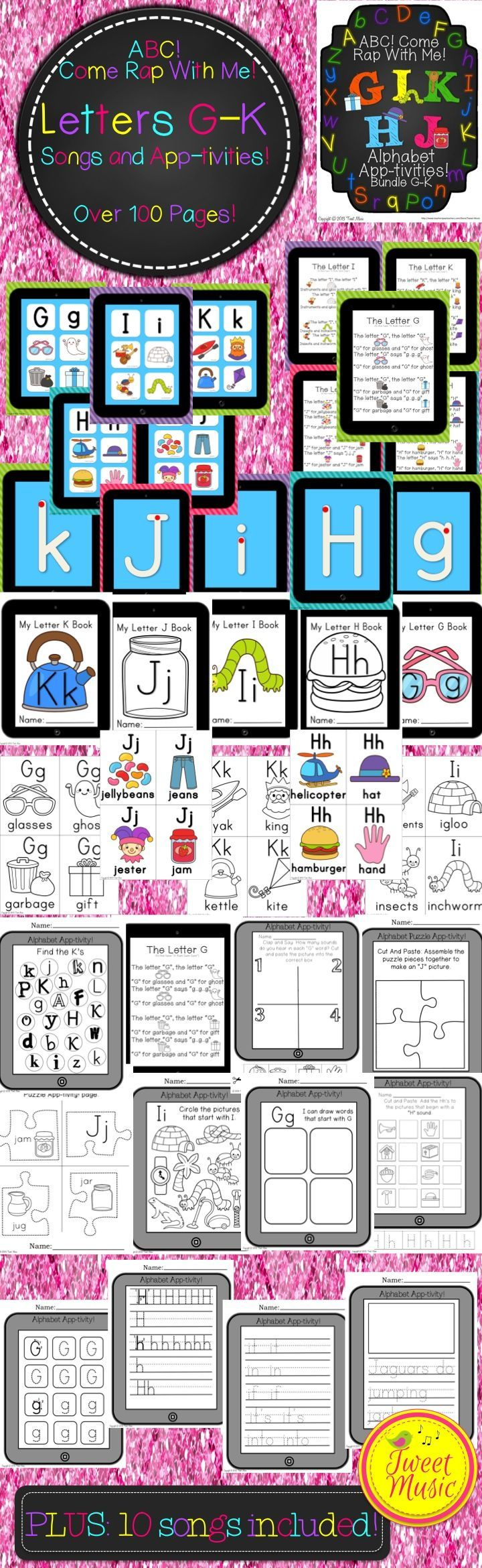 """110 PAGES OF PRINTABLES and POSTERS, as well as 10 LETTER SONGS IN MP3' FORMAT. Save more than 30% off and buy """"ABC! Come Rap With Me!"""" in bundle packs. Over 100 pages of common core aligned Letter G, H, I, J and K printables (or app-tivities as I have affectionately named them for their iPad theme) are included with purchase. Also included are 2 MP3's- an original """"Letter song"""" and """"Letter Rap"""""""