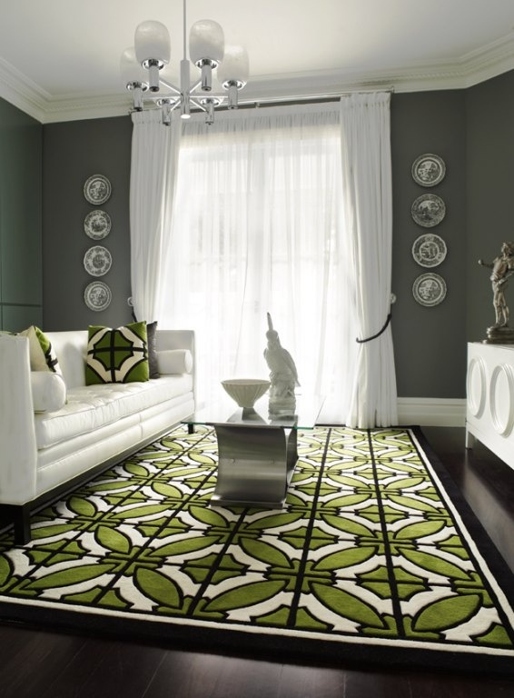 White Furniture Gray Walls Geometric Green White Rug
