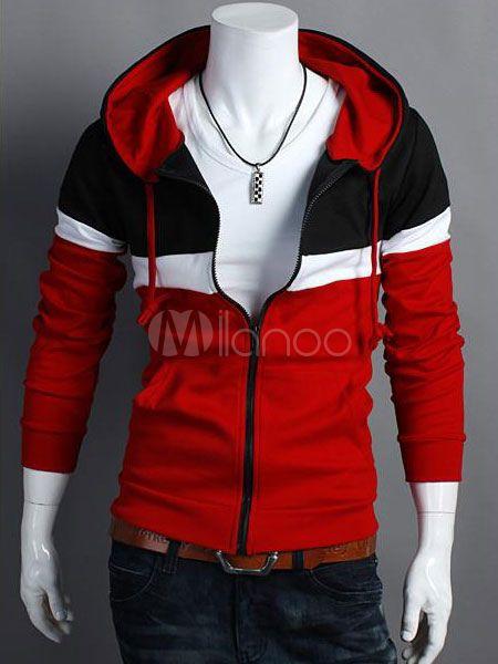 Algodón con capucha manga larga Zip sudadera con capucha de chaqueta de los hombres para hombres