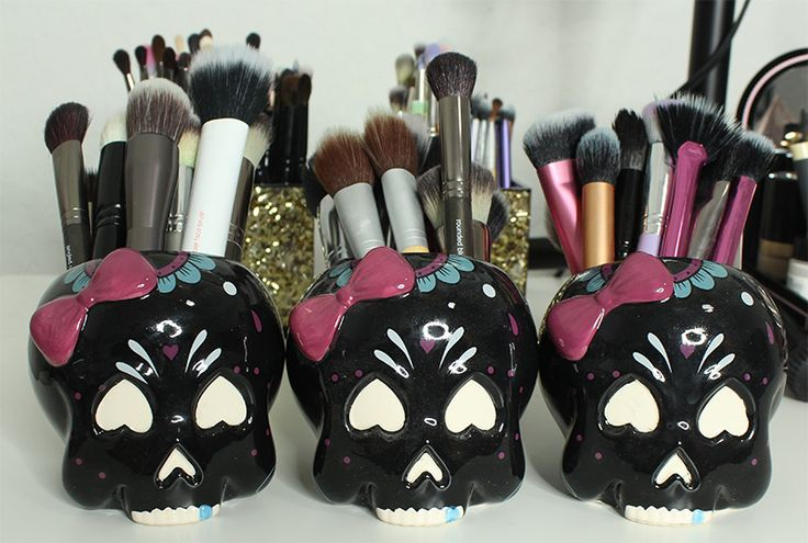 Sourpuss Sugar Skull Candy Dish Face Brush Holders