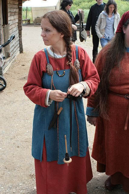 Spinning with a drop spindle-- Viking.