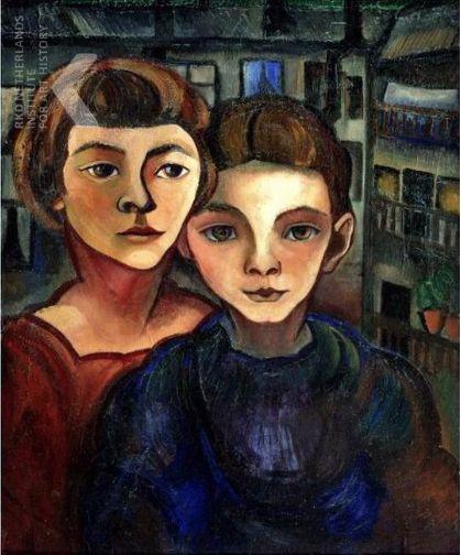 Charley Toorop (Dutch 1891-1955), Zelfportret met Edgar Fernhout, oil/canvas, 1921. The artist with her oldest son Edgar Fernhout (1912-1974). Collection Stedelijk Museum Alkmaar, Netherlands.