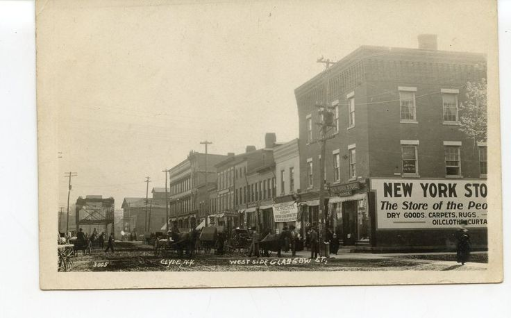 RPPC of Stores  Horse Drawn Wagons Along Glasgow St  CLYDE NY