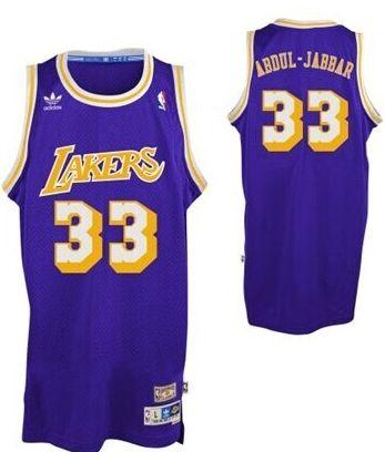 Los Angeles Lakers #33 Kareem Abdul-Jabbar Purple Swingman Throwback Jersey