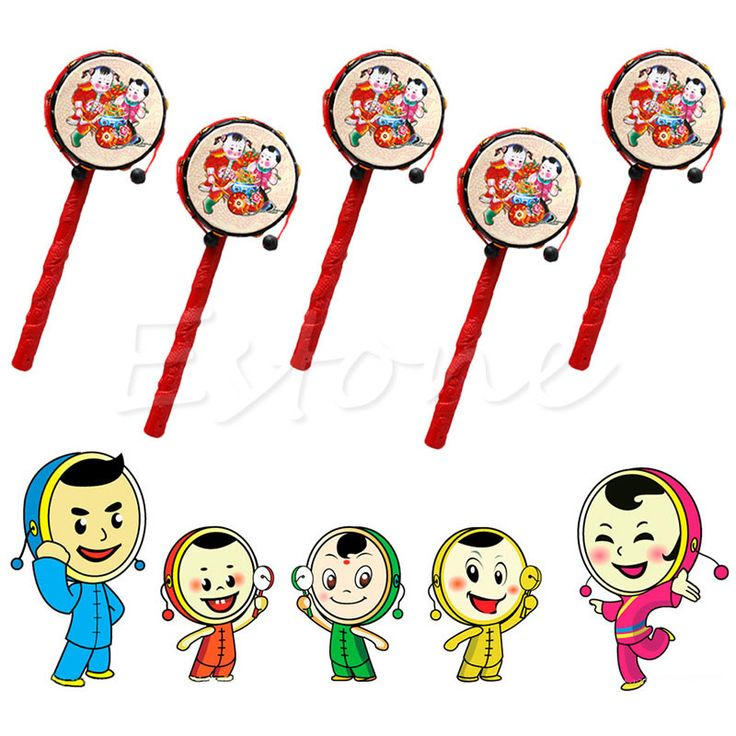 Chinese Traditional Spin Toy Rattle Drum Kids Cartoon Hand Bell Plastic For Baby A19023