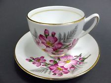 Vintage Duchess Bone China Tea Cup and Saucer Pink Dogwood Gold Accent England