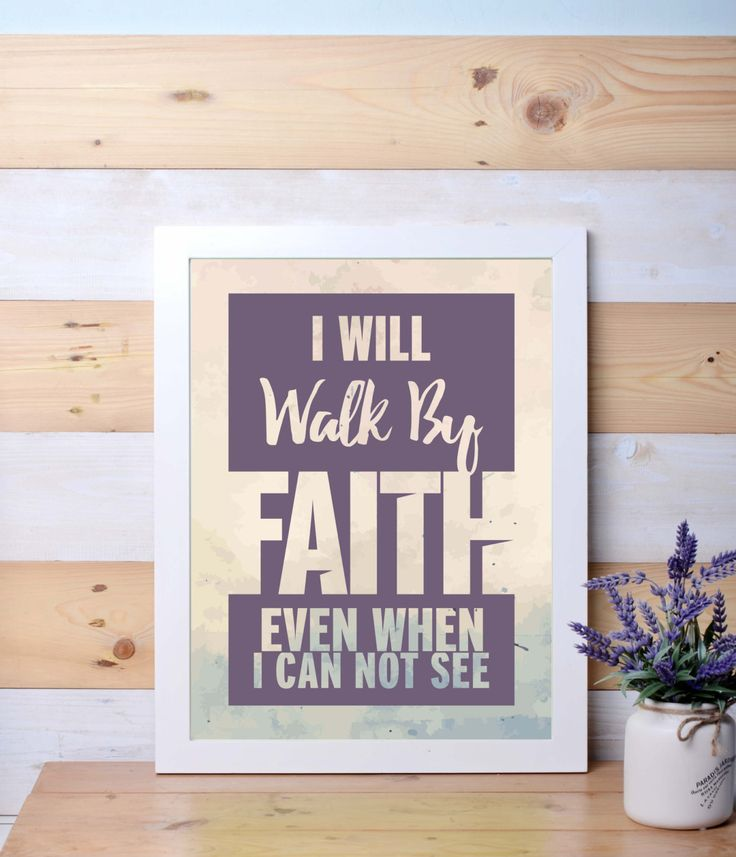 Printable poster, I will walk by Faith, motivational quotes, wall art, wall decor, religious by LanternLife on Etsy