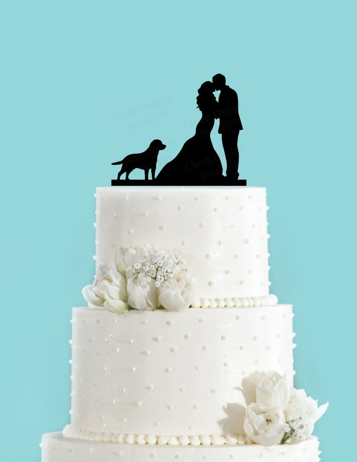 Couple Kissing with Labrador Retriever Dog Wedding Cake Topper by ChickDesignBoutique on Etsy https://www.etsy.com/listing/221631087/couple-kissing-with-labrador-retriever