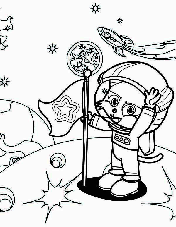 Astronaut A Cute Cat Astronaut On The Moon Coloring Page Moon