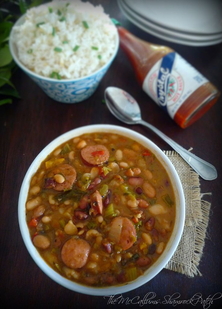 15 bean Cajun Soup is a delicious slightly spicy recipe that really is almost effortless utilizing  a fast cook method with Hurst's® 15 Bean Soup, a homemade Roux, Andouille Sausage, onions, carrots, celery, minced garlic, diced tomatoes with chilies, hot sauce and Cajun seasoning served over white rice.
