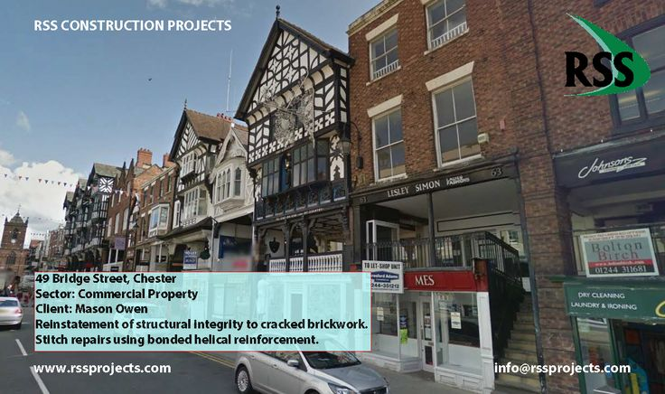 Reinstatement of structural integrity to cracked brickwork. Stitch repairs using bonded helical reinforcement. http://www.rssprojects.com/Case Studies/49-bridge-street-chester