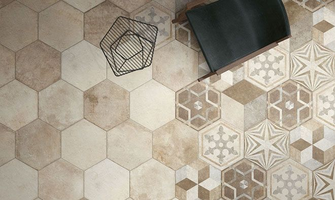 Carrelage Heritage Hexagonal Deco Texture Mix