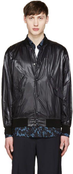 Toga Virilis Black Nylon Bomber Jacket