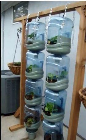 Hanging bottle garden from 5 gallon water bottles http://www.youtube.com/watch?v=NsFRlEOoBjI