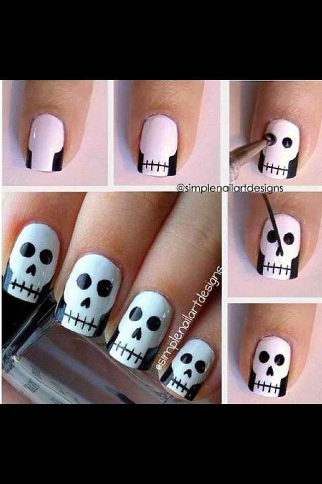 Cute skull nails-the trick!!!