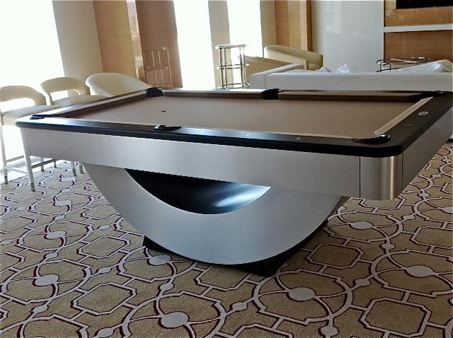 "Golden West ""Reverse Rainbow"" installed yesterday in a suite at the New Tropicana Hotel in Las Vegas Nevada. Brushed metal and black rails with camel cloth. Great to see a resurgence of pool in the Las Vegas Hotels, AMERICAN BUILT and PROUD of it!"