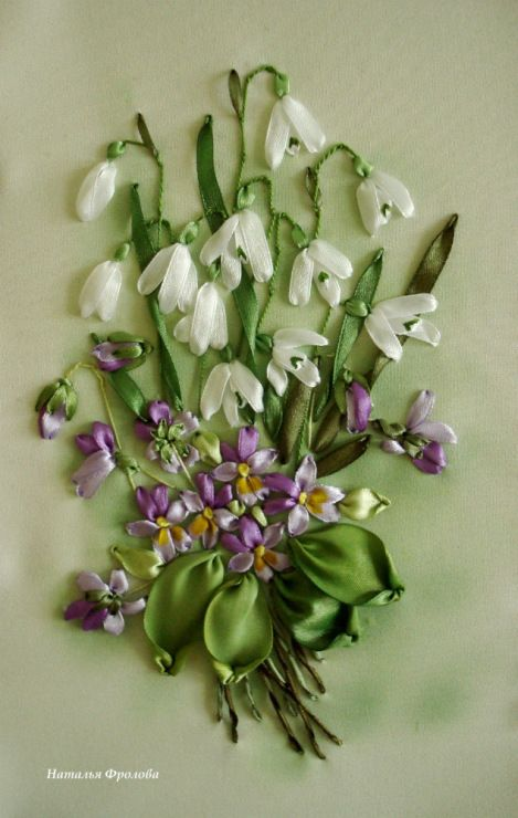 Violets and snowdrops #ribbonEmbroidery