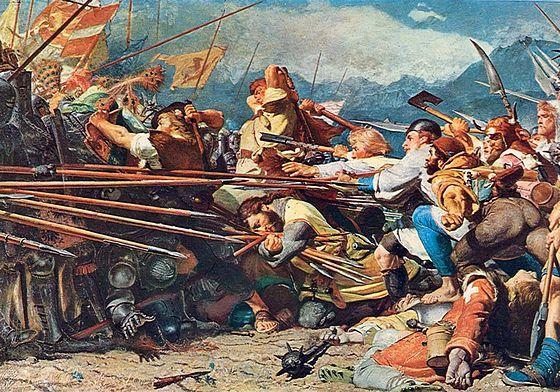 Художник Конрад Гроб.Смерть Арнольда фон Винкельрида в битве при Земпахе в 1386г.
