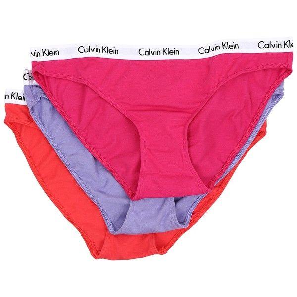 Calvin Klein Underwear Carousel 3-Pack Bikini Panties... ($30) ❤ liked on Polyvore featuring intimates, panties, bikini panty, low rise bikini, panty bikini, underwear bikini and low rise bikini panty