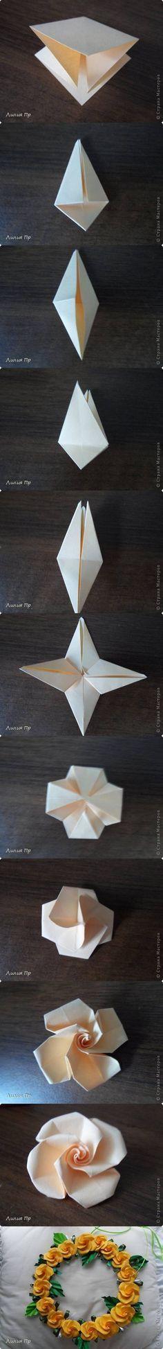 How to DIY Beautiful Origami Rose #DIY #craft #Origami