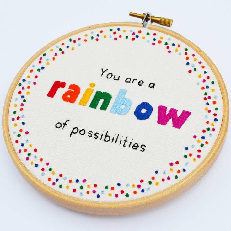 'Rainbow Of Possibilities' Hand Embroidery Hoop Art