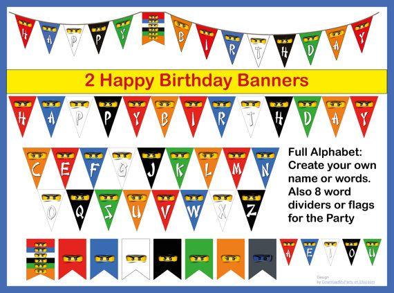 Full Alphabet birthday banner for Lego Ninjago to make your own names. Skylar and upgraded Zane included.