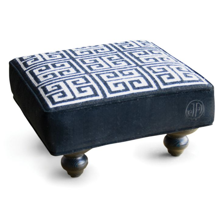 This would be fabulous in our study....Jonathan Adler Greek Key Needlepoint Stool in Footstools & Poufs