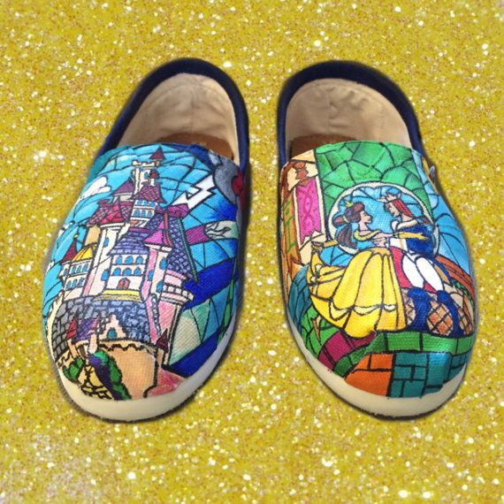 Painted Beauty & The Beast Toms. Stained Glass Toms. Beauty and The Beast shoes. Bell and Beast. Stained Glass Shoes. Bell Toms. Bell Shoes
