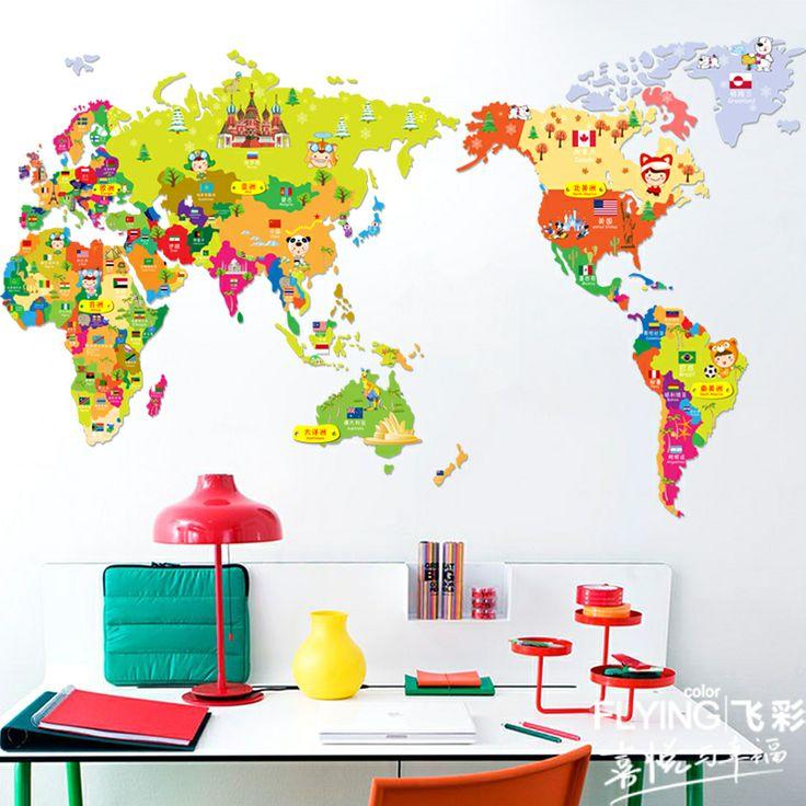 2013 nuevo envío gratis baratos etiqueta de la pared de dibujos animados de mapa del mundo papel pintado para
