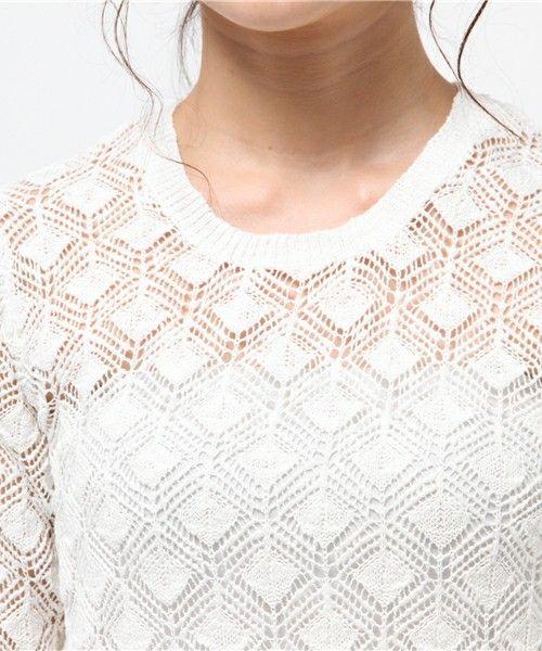 George's FASHION(ジョージズ ファッション)の透かしウォッシュ加工ニット(ニット/セーター)|詳細画像