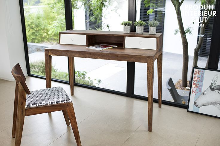 The Naröd office desk combines originality, quality materials and vintage design. This desk is made entirely out of solid rose wood. Its natural pattern is a beautiful contrast with the white drawers. Protected by a dark varnish in the shade of walnut, this wood is stain resistant.  Discover our collection of Scandinavian furniture at https://www.pib-home.co.uk/ the specialist in vintage furniture, lighting and decorating style.