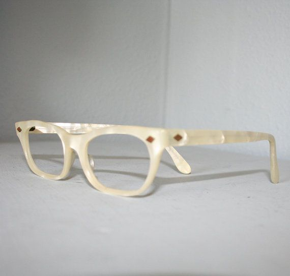 My Glasses Frames Are Turning White : Vtg 1950s PEARL GLASSES / White Thick Plastic Frames ...