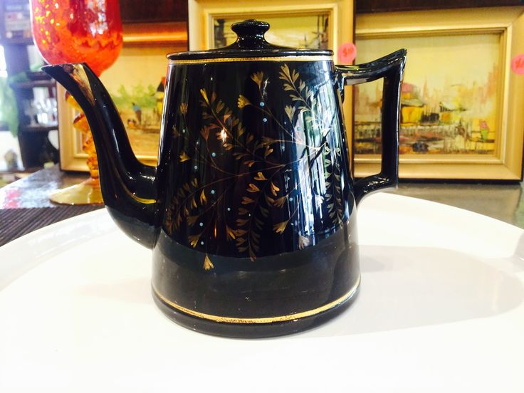 A special vintage tea pot, high gloss and black leaf and floral design, truly eye catching. Currently on shop floor, For more details please visit our Facebook page https://www.facebook.com/Whatever-at-Willunga-118129198383581/timeline/ or website.