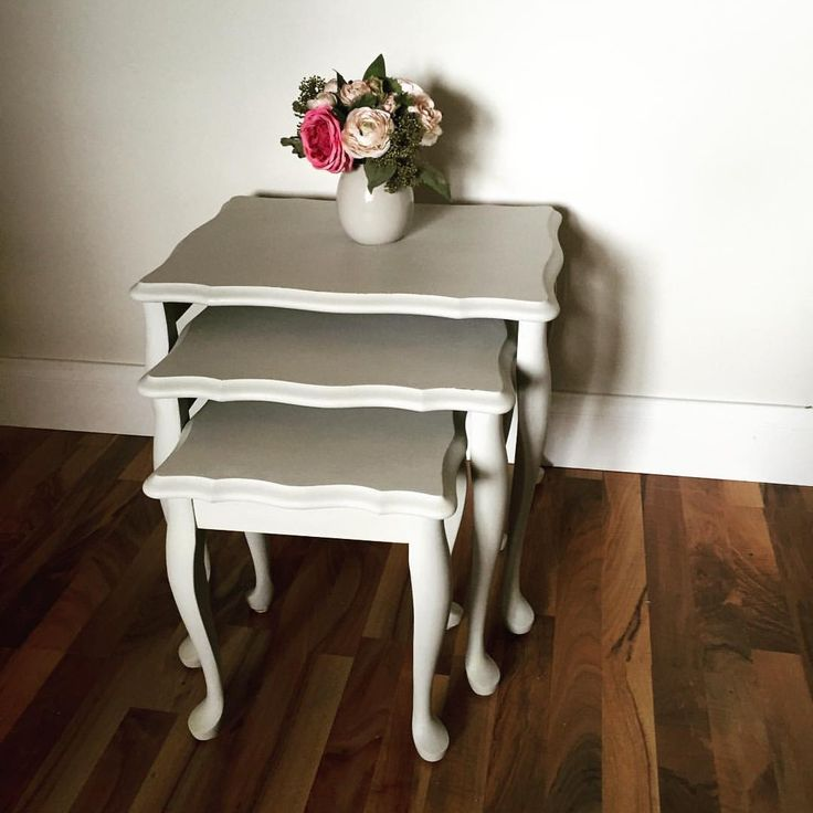 Hand painted nest tables in custom grey