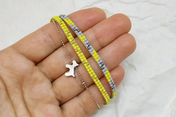 Cute bracelet with dog pendant/ Jewelry for dog lovers/ Yellow