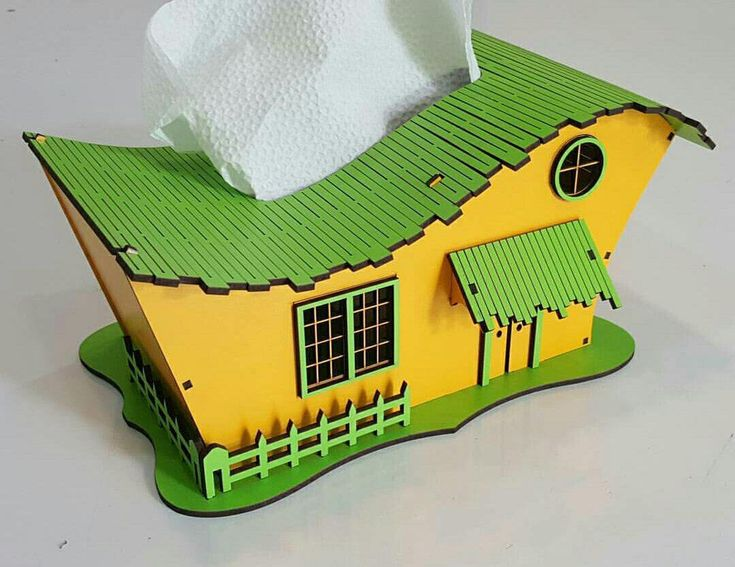 "Napkin holder ""House"" decor for home 3d model Vector plan of the CNC wood, wooden, vector graphics,"