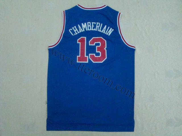c4a3a0542 Philadelphia 76ers  13 Wilt Chamberlain Throwback Blue Jersey ...