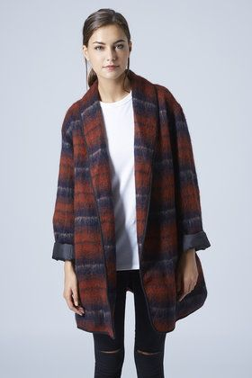 Fluffy wool checked jacket
