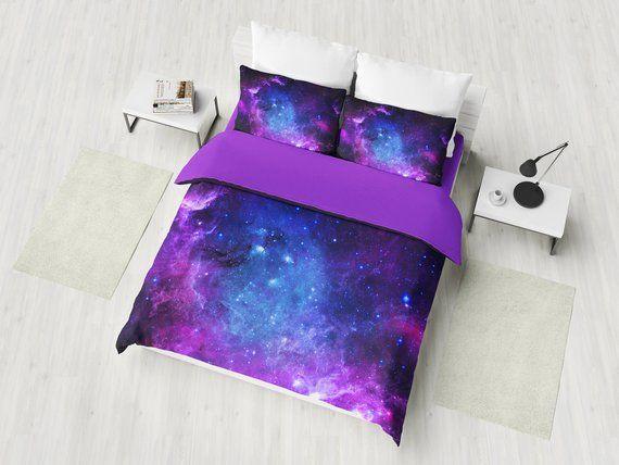 Purple Nebula Bedding Set, Galaxy Duvet Cover Set, Deep Space Bedding, Cosmos Bedroom Decor, Univers