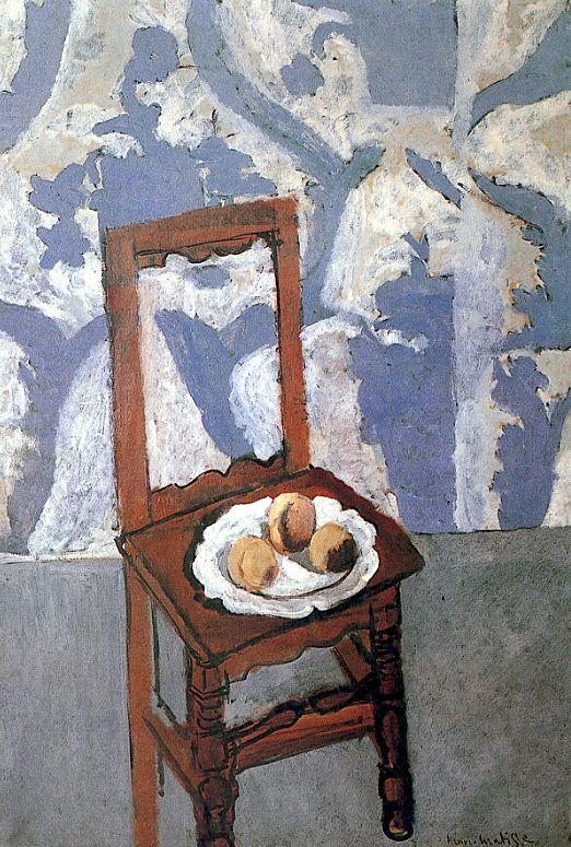 Chair with Peaches / Henri Matisse ✏✏✏✏✏✏✏✏✏✏✏✏✏✏✏✏  ARTS ET PEINTURES - ARTS AND PAINTINGS  ☞ https://fr.pinterest.com/JeanfbJf/pin-peintres-painters-index/ ══════════════════════  Gᴀʙʏ﹣Fᴇ́ᴇʀɪᴇ ﹕☞ http://www.alittlemarket.com/boutique/gaby_feerie-132444.html ✏✏✏✏✏✏✏✏✏✏✏✏✏✏✏✏