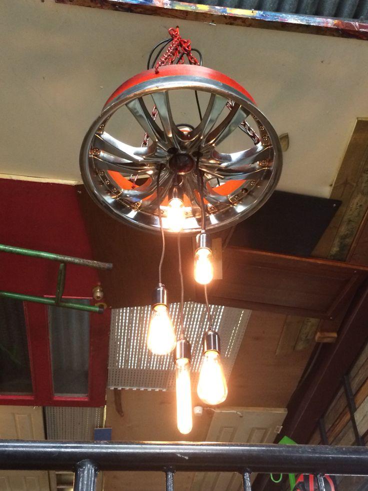 Mag wheel chandelier