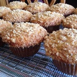 Banana Crumb Muffins - Allrecipes.com. 1st try: I followed the recipe & they were delicious. 2nd try: traded 1/2 oat flour for 1/2 APF, coconut oil for  butter & put in 3/8 c. sugar & they were just as delicious & came out of the pans even easier! :) Oh. And I skipped the crumb topping both times.