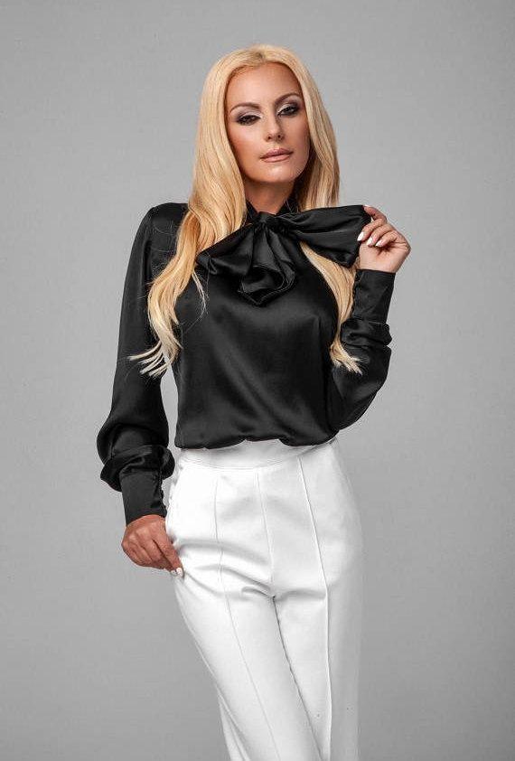 833c0541ce3e5 Black long sleeve blouse   Black silk blend blouse   Elegant