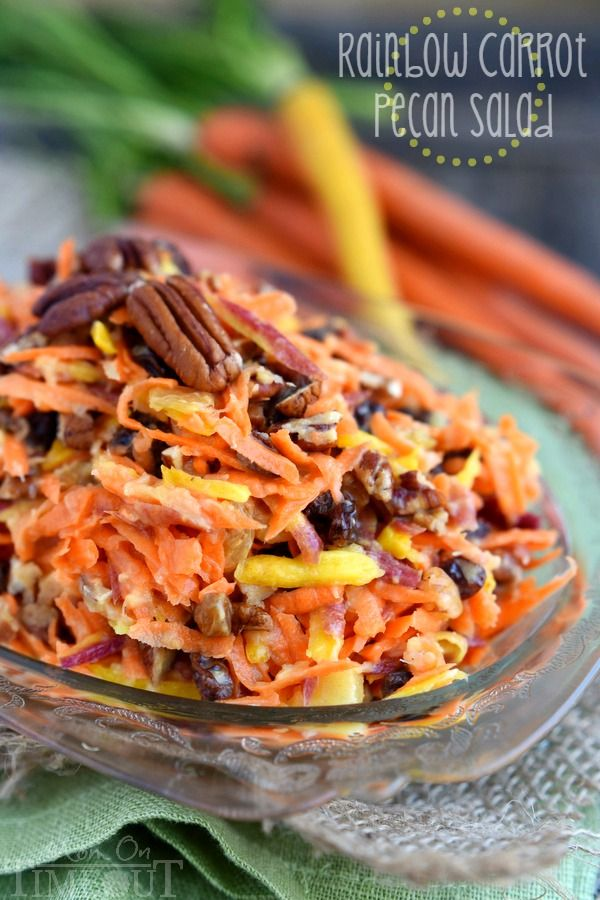 This easy 5 Minute Rainbow Carrot Pecan Salad is a breeze to prepare and is the perfect addition to any meal! Perfectly sweet and refreshing, this easy salad recipe is one we enjoy all summer long! | MomOnTimeout.com