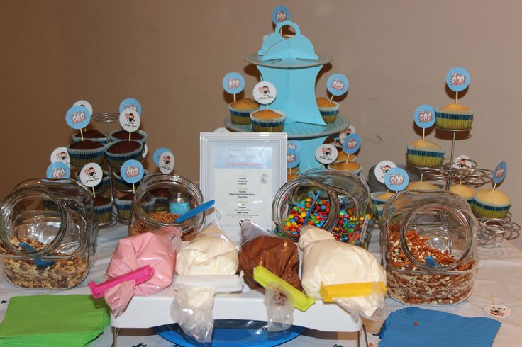 Our baby shower cupcake bar