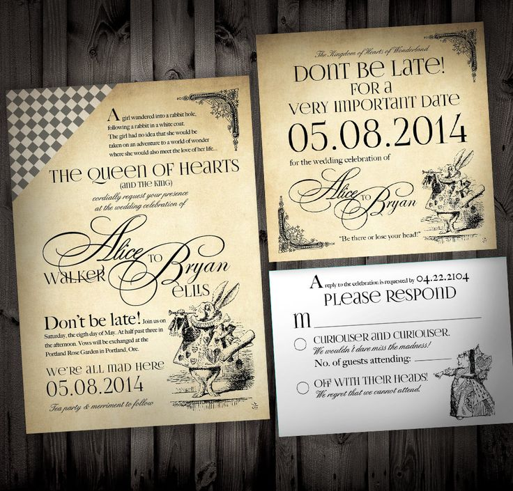 Wedding Invitation Thoughts: Alice In Wonderland Themed Wedding Invitations By