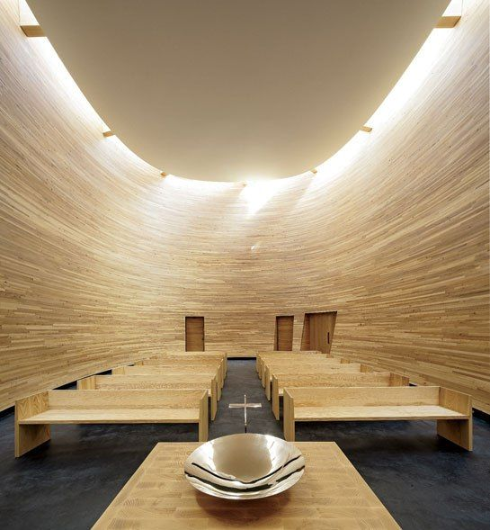 Kamppi Chapel of Silence by K2S architects  The alder-lined interior.